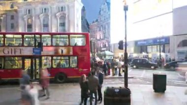 London UK Piccadilly Circus illuminated billboard night business TL — Stock Video
