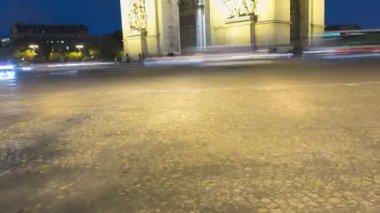 France Paris Europe Arc de Triomphe Avenue Champs Elyses night TL — Stock Video