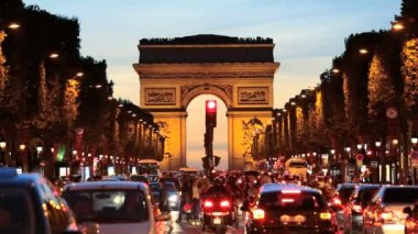 France Paris Arc de Triomphe Avenue Champs Elyses — Stock Video