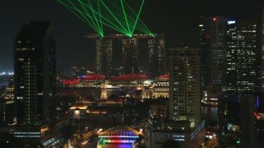 Clarke Quay city skyline river illuminated night travel — Stock Video