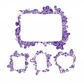 Hand drawn patterned frames — Stock Vector