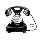 Hand drawn old phone — Stockvector
