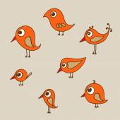 Hand drawn funny birds — Stock Vector