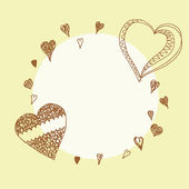 Hand drawn hearts frame — Stock Vector