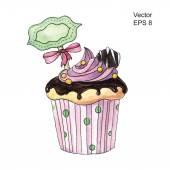 Watercolor  decorated cupcake — Stock Vector
