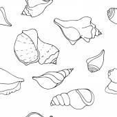 Hand drawn seashells  background — Stock Vector