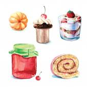 Tasty watercolor desserts — Foto de Stock