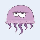 Funny cartoon jellyfish — Stock Vector