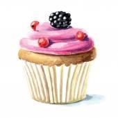 Hand drawn watercolor cupcake — Stock Vector