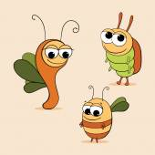 Funny cartoon beetles — Stock Vector