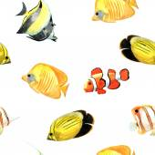 Watercolor fishes seamless pattern — Stock Photo
