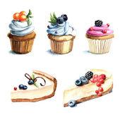 Hand drawn watercolor desserts — Stock Photo