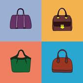 Bright handbags set. — Stock Vector