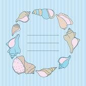 Hand sketched seashells  frame — Stock Vector