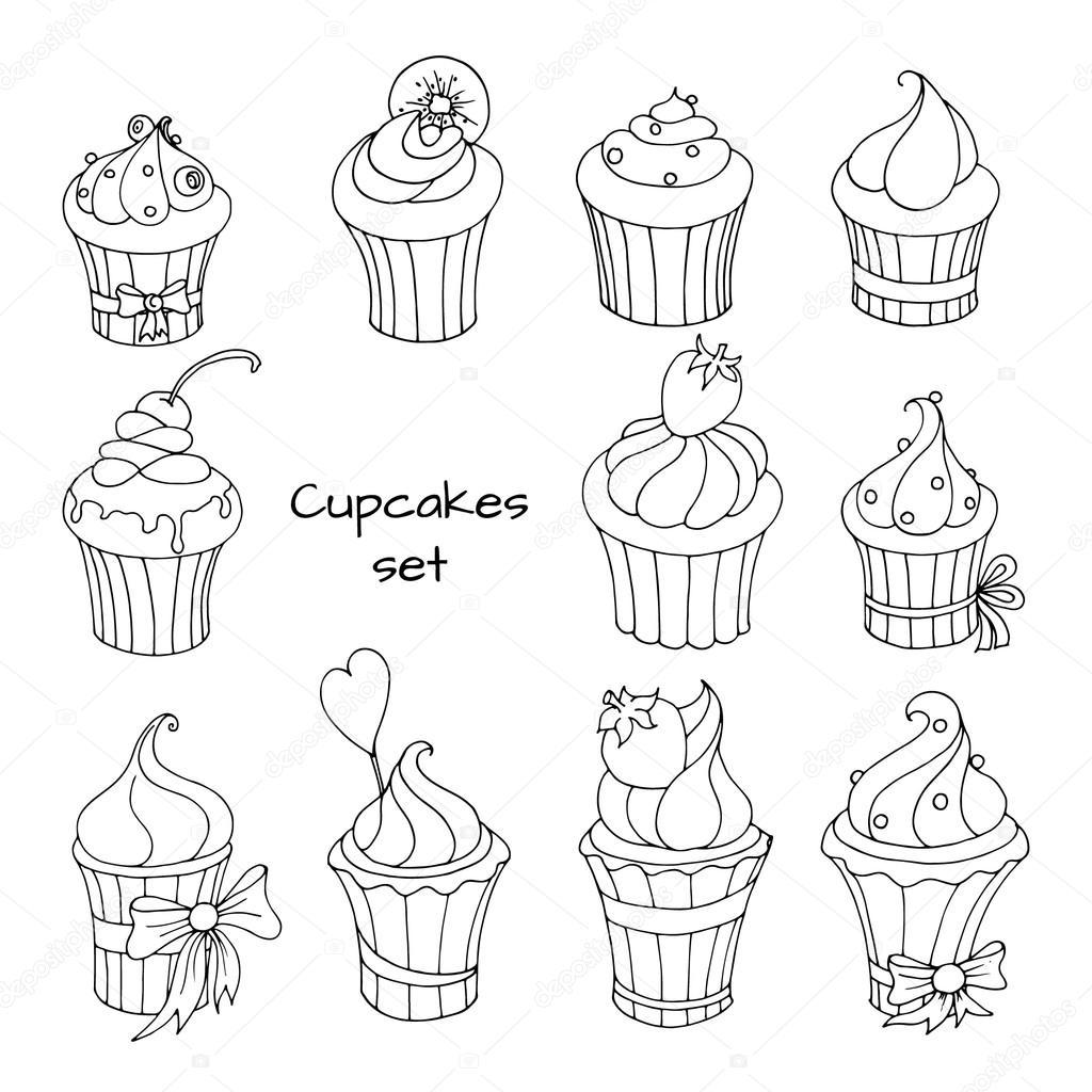 cupcakes set illustration grafika wektorowa