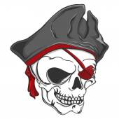 Pirate Zombie Skull — Stock Vector