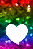 Blank of greeting card with rainbow bokeh background — Stock Photo