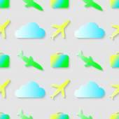 Patroon met zak cloud en vliegtuig. — Stockvector