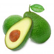 Two fresh green ripe avocado and slice — Stock Photo #78085508