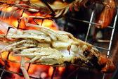 Shrimp grill on gridiron — Stock Photo
