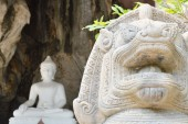 Stucco lion in front of white Buddha — Stockfoto