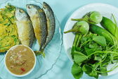 Fried mackerels and fried egg with shrimp paste sauce and variety vegetables — Stock Photo