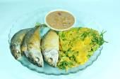 Fried mackerels and fried egg with shrimp paste sauce — Stock Photo