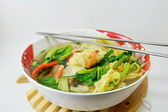 Chinese egg noodle with barbecue pork and wanton in the soup — Stock Photo