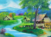 Thailand upcountry view oil painting on canvas — Stock Photo