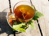 Bylinný čaj černý rybíz — Stock fotografie