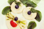 Cheesecakes as animal face with fresh berries, retro-insta effect — Stock Photo