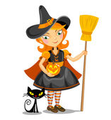 Little Halloween Witch and black cat. — Stock Vector