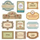 Different vintage art nouveau lables. — Stock Vector