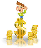 Guy on top of dollar — Stock Vector
