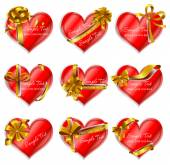 Cards in shape of hearts — Stock Vector