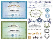 Blue and green horizontal certificates — Vetor de Stock