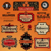 Halloween vintage set — Stock Vector