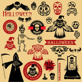 Vintage halloween icons — Stock Vector