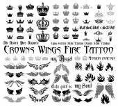 Wings, Crowns, fire, monograms. — Vettoriale Stock