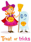 With in Halloween costume — Stock Vector