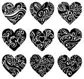 Black Tribal hearts — Stock Vector