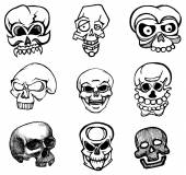 Sketch skulls set — Stock Vector