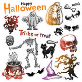 Sketchy Halloween icons — Stock Vector