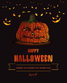 Halloween background with scary pumpkin — Stock Vector