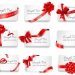 Festive cards with red gift ribbons. — Stock Vector #62608681