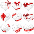 Festive heart-shaped  cards with red gift ribbons. — Stock Vector #62608693