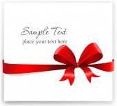 Greeting card with a red ribbon. — Stok Vektör
