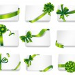Beautiful cards with green gift bows. — Stock Vector #62883895