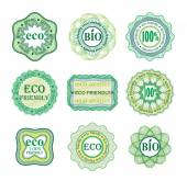 Set of labels for green technology and production. — Stock Vector