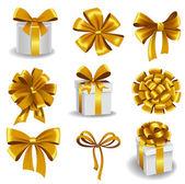 Golden gift bows — Stock Vector